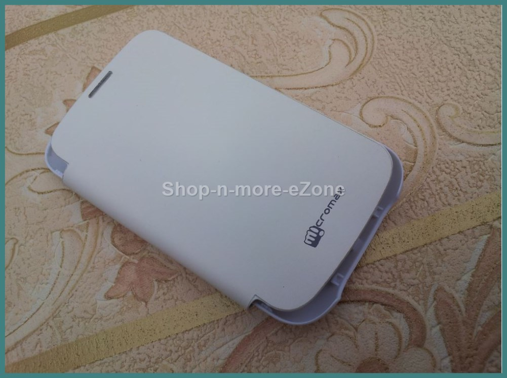 Micromax Bolt A27 Flip Diary Case Cover Battery Door Replaceable - White
