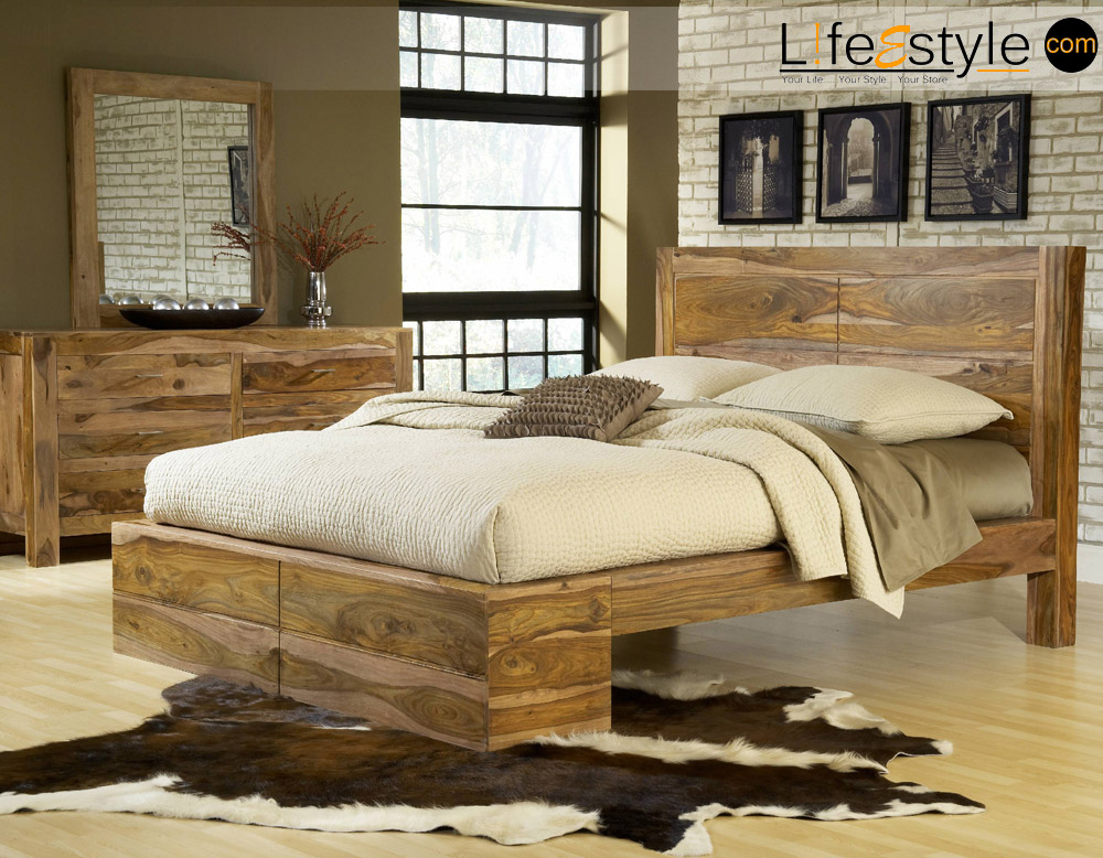 Queen Size Bed Sheesham wood furniture, solid wood ...