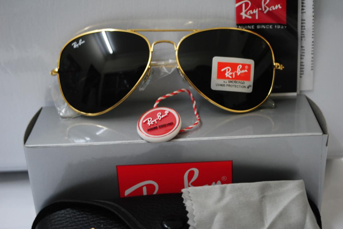black lens ray bans ysv6  new ray ban aviator sunglasses gold frame black lens