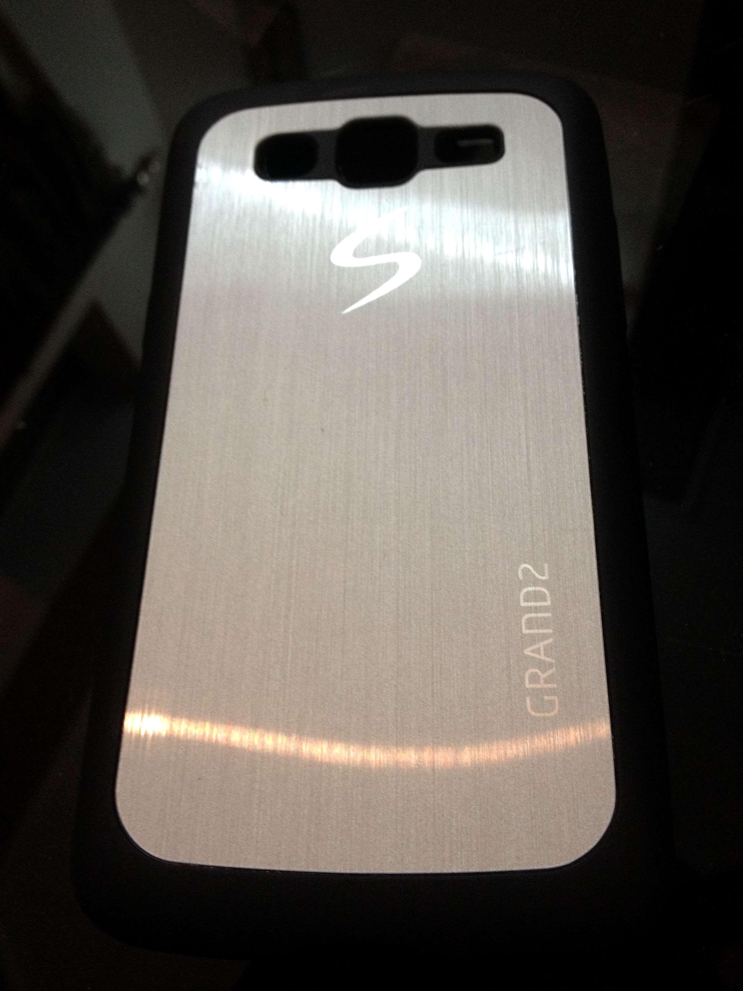 Samsung Galaxy Grand 2 Cover Stylish Designer Metal Shine Soft Back Tempered Glass Neo I9060 Case