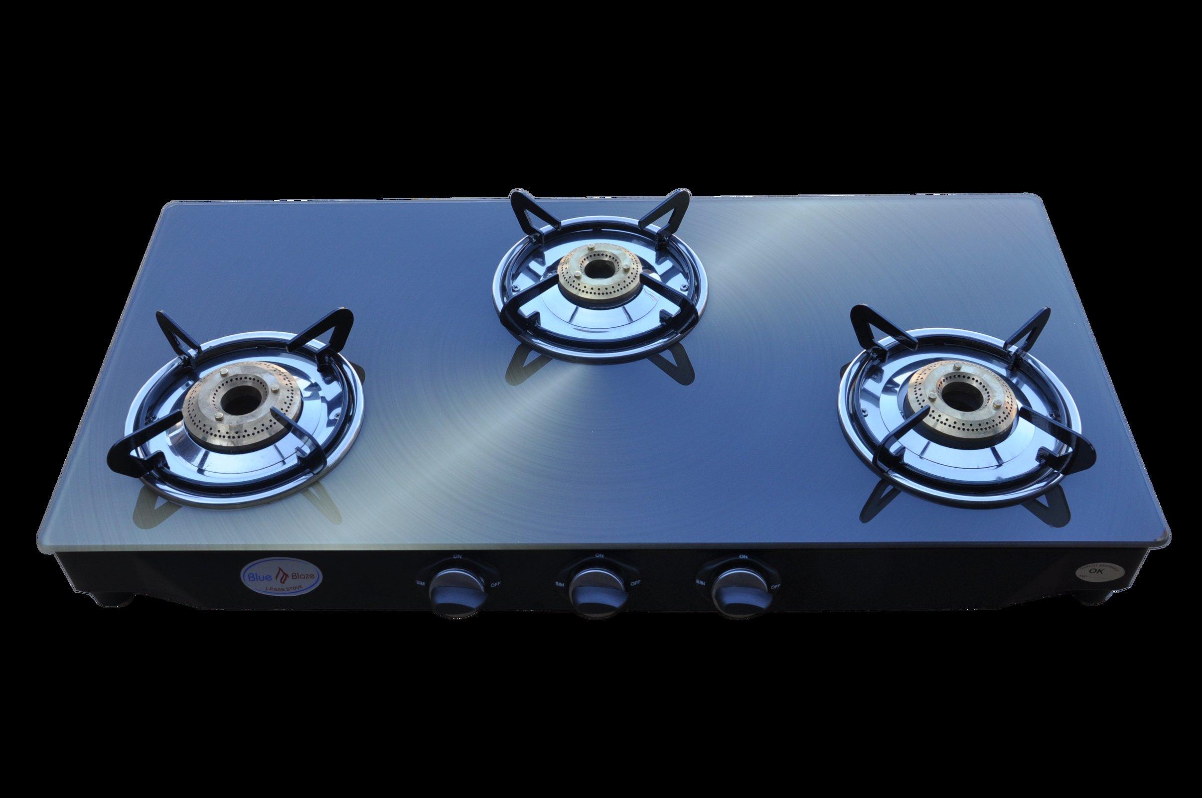 Burner Glass Top Gas Stove Metallic Copper Design Auto Ignition