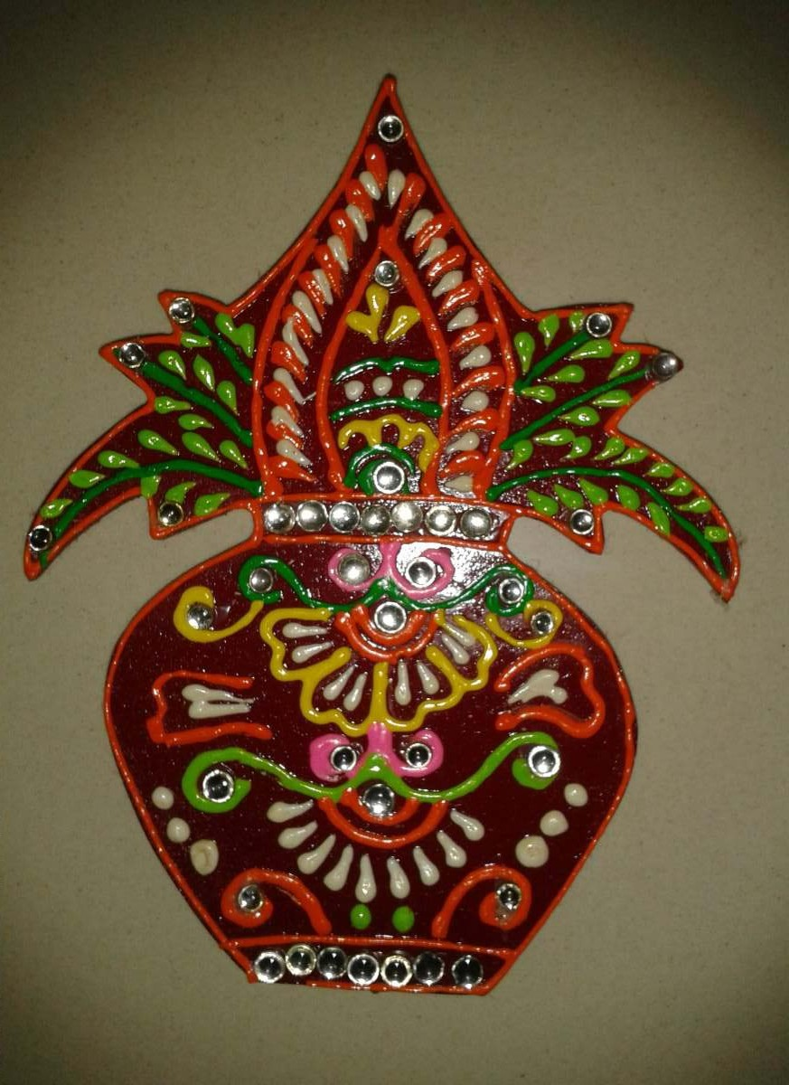 Decorative Kalash Hand Made Wooden Wall Sticker