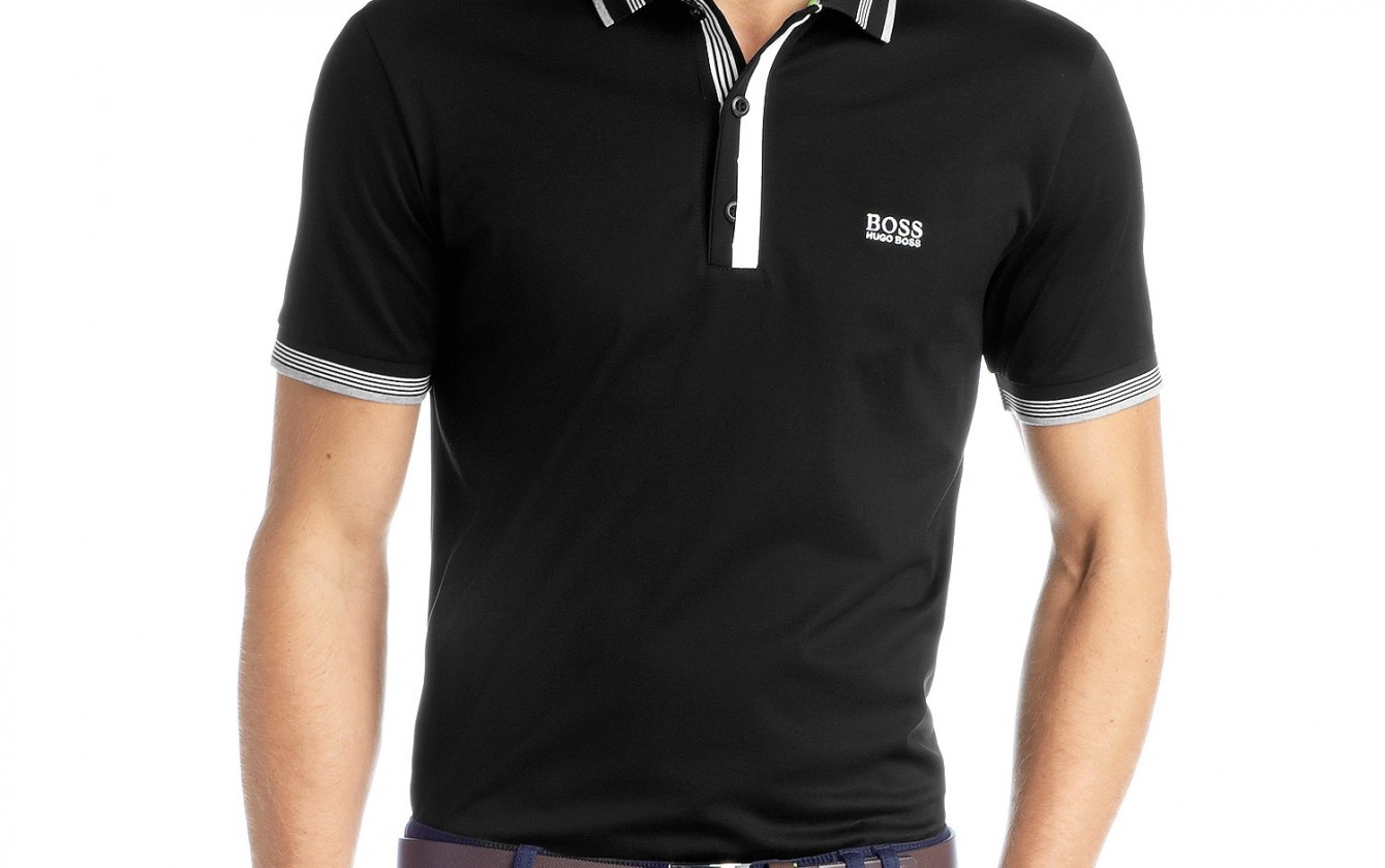 hugo boss solid men 39 s polo neck t shirt black. Black Bedroom Furniture Sets. Home Design Ideas