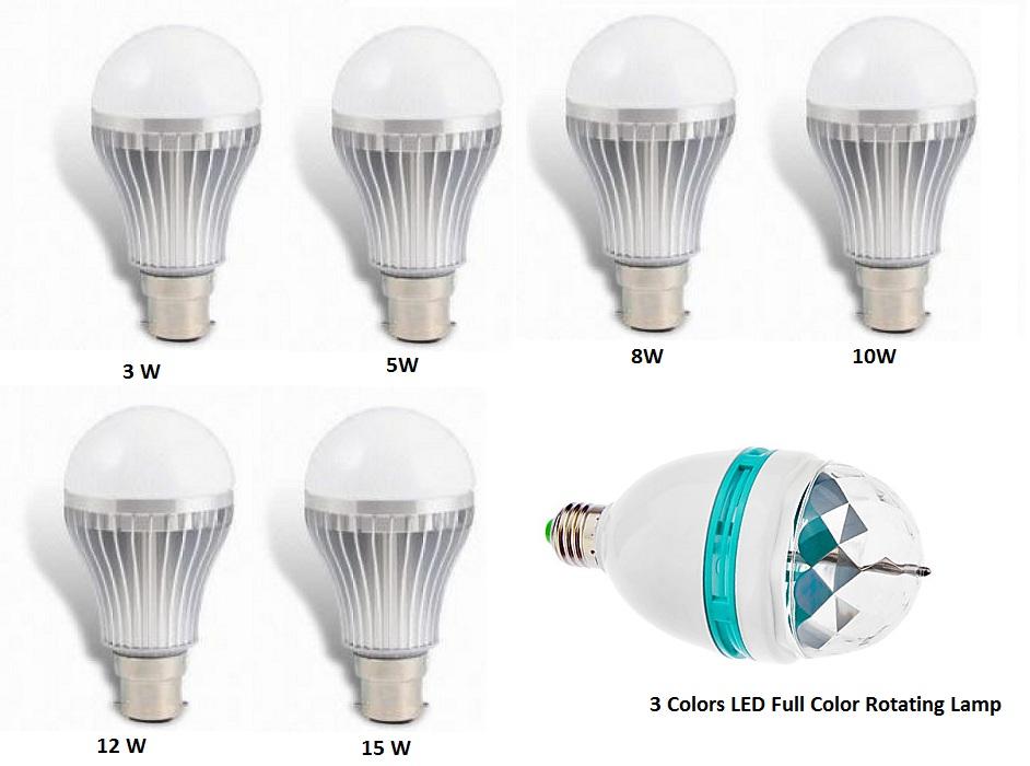 Combo Of 3 Colors Led Full Color Rotating Lamp 1 Led Bulb