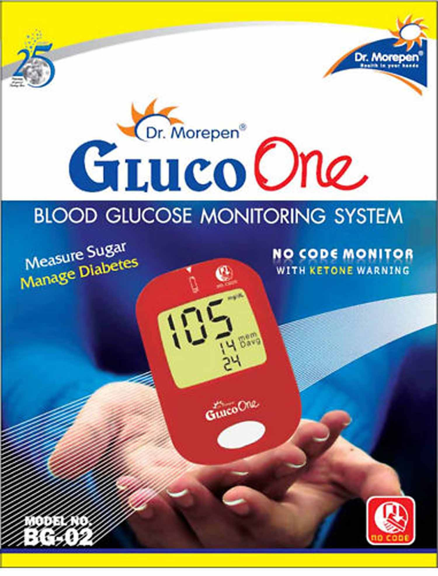 Dr Morepen Gluco One BG 02 Blood Sugar VAT Bill Glucose No Coding Monitor