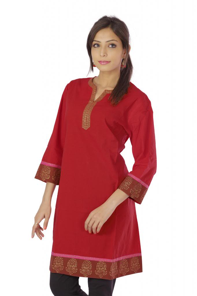 Vihaan Impex Nice Red Pure Cotton Hand Block Printed Designer Kurti Tunic Top
