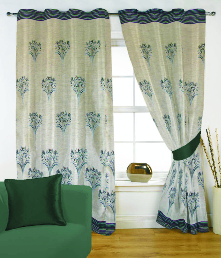 Fabutex Glitter Green Floral Panel Door Curtain