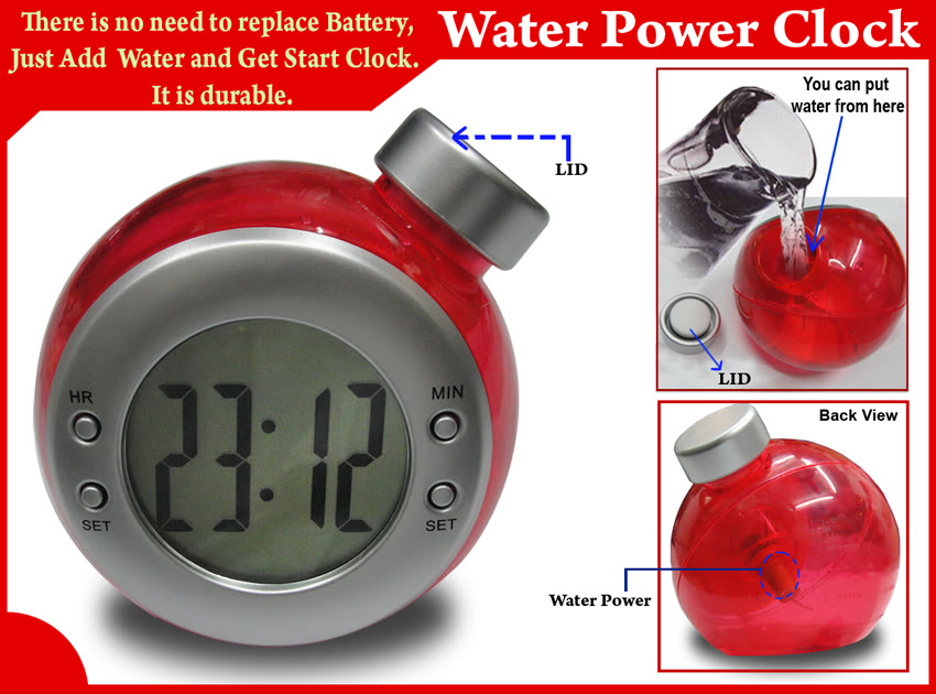 Water battery powered clock