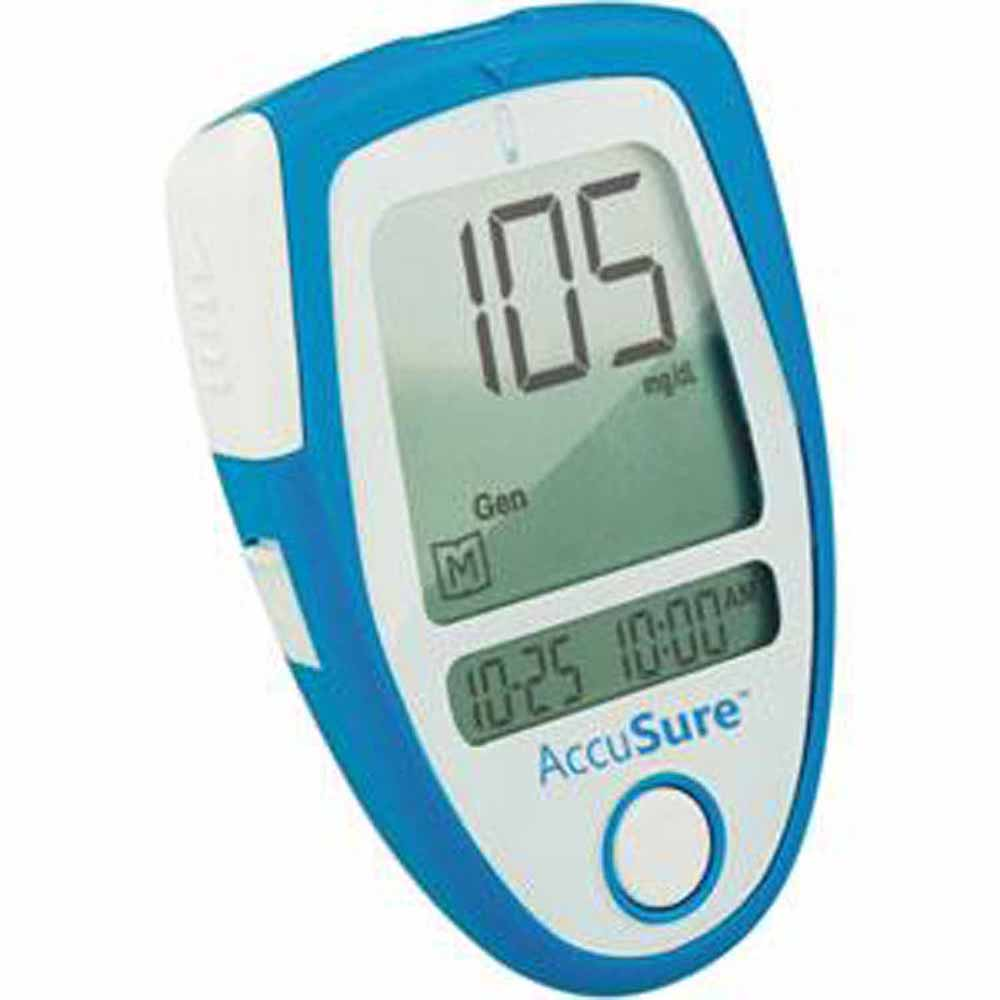 Accu Sure Blood Sugar Glucose Check Monitor Meter 10 Strips AccuSure