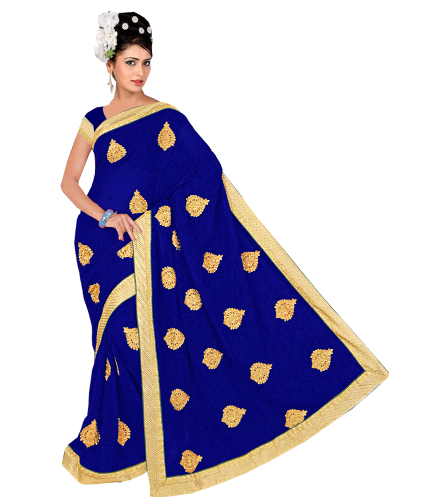 Anjali Designer  Party Wear Blue Embroidered Product Saree with unstitched Blou available at ShopClues for Rs.1995