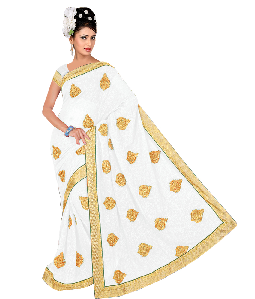 Anjali Designer  Party Wear White Embroidered Saree with unstitched Blouse available at ShopClues for Rs.1995