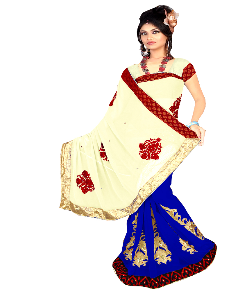 Anjali Designer  Party Wear Violet Embroidered Saree with unstitched Blouse available at ShopClues for Rs.1995