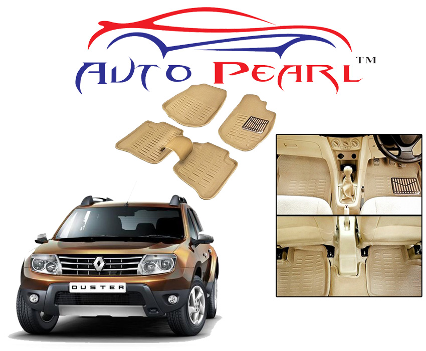 auto pearl 3d car foot mats renault duster beage set of 5. Black Bedroom Furniture Sets. Home Design Ideas