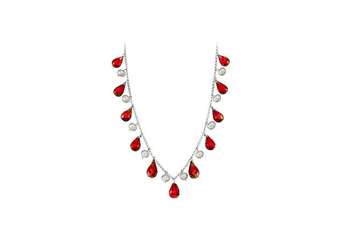 Forty Carat Ruby Teardrop Necklace with Cultured Pearl Set in 14K White Gold Chain available at ShopClues for Rs.22724