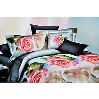 Valtellina Pink Rose With Leaves  Print Double Bed Sheet (S-011)