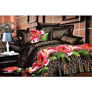 Valtellina Divine Traditional With Floral Print Double Bed Sheet (S-016)