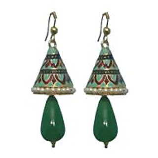 Indianpasand Meenakari Multicolor Earring With Green Bead(MEML02G)