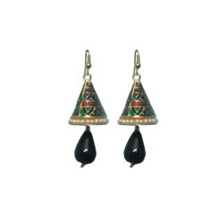 Indianpasand Meenakari Multicolor Earring With Black Bead(MEML05B)