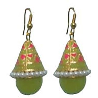 Indianpasand Meenakari Coneshaped Earring With Light Green Bead(MEML09LG)