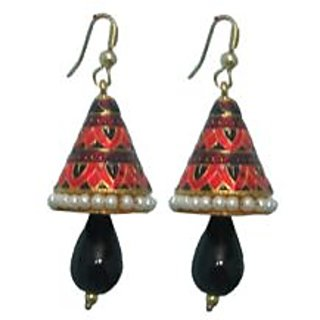Indianpasand Meenakari Coneshaped earring With Black Bead(MEML10B)
