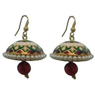 Indianpasand Meenakari Multicolor Jhumki earring with Merron Bead(MEML14MR)