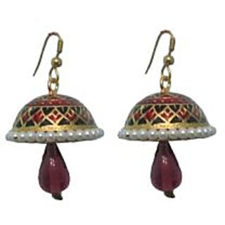 Indianpasand Meenakari Multicolor Jhumki earring with Purple Bead(MEML15P)