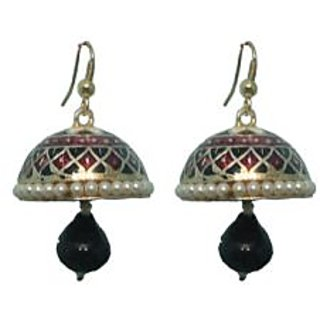 Indianpasand Meenakari Multicolor Jhumki earring with Black Bead(MEML16B)