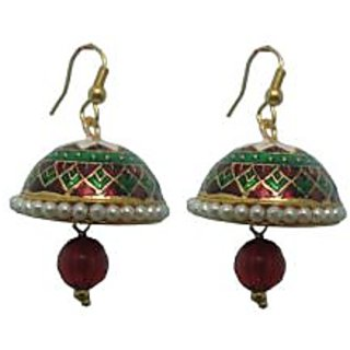 Indianpasand Meenakari designed Earring with Merron Bead(MEML23MR)