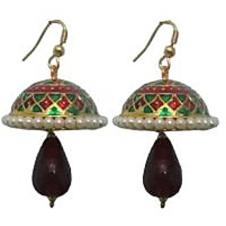 Indianpasand Meenakari colourful Jhumki with Merron Bead(MEML24MR)