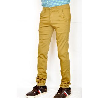 Casual Brown Satin Lycra Cotton Slim Fit Chinos
