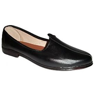 Round Black Traditional Synthetic Leather Jutti