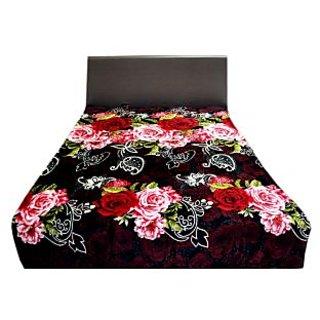 Valtellina Attractive Pink & Red Floral Design Double Bed Blanket (LVD-019)