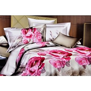 Valtellina Grand Pink Floral Print Double Bed Sheet (M-022)