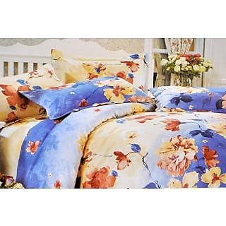Valtellina Gorgeous Floral Art Print Double Bed Sheet (DY-022)