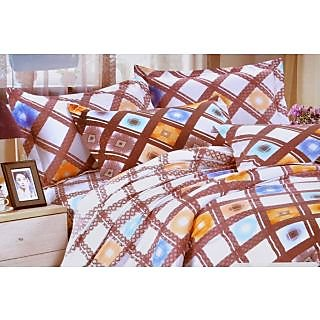 Valtellina Sparking Check Print Double Bed Sheet (DY-028)