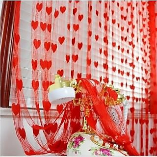 Homefabs india red heart curtain set of 2