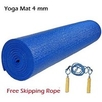 Body Maxx Yoga Mat 4 mm + Free Skipping rope Wooden, Assorted colors yoga mats