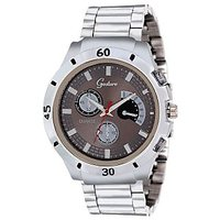 Gesture Chronograph Silver Metal 3-Movement Chain Watch (6001-GR) - Men
