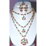 Amazing Looking Multi Colour Full Necklace Set With Earrings & Maang Tika