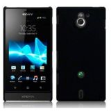 Black Ultra Thin Rubberized Matte Hard Back Case Cover for Sony Xperia Sola MT27i