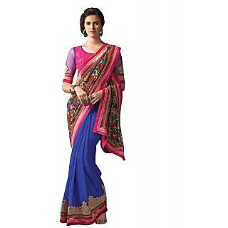 IndiWeaves Multicolor Art Silk Embroidered Saree With Blouse