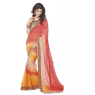 IndiWeaves Multicolor Brocade Embroidered Saree With Blouse