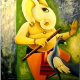 Dancing Ganesha Hand Painting On Canvas