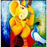 Ganesha With Sitar Hand Painting On Canvas