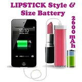 Gadget Hero's Lipstick Design 2600 MaH Portable Power Bank External Battery Charger Pink For Samsung, Apple IPhone, Blackberry, Sony, Samsung, HTC, Nokia, Micromax, LG, Karbonn, Intex, Lava, Philips & Other USB Powered Phone's Or Devices