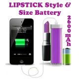 Gadget Hero's Lipstick Design 2600 MaH Portable Power Bank External Battery Charger Purple for Samsung, Apple iPhone, Blackberry, Sony, Samsung, HTC, Nokia, Micromax, LG, Karbonn, Intex, Lava, Philips & other USB Powered Phone's or Devices