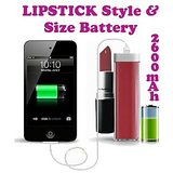 Gadget Hero's Lipstick Design 2600 MaH Portable Power Bank External Battery Charger Red For Samsung, Apple IPhone, Blackberry, Sony, Samsung, HTC, Nokia, Micromax, LG, Karbonn, Intex, Lava, Philips & Other USB Powered Phone's Or Devices