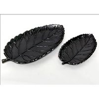 Serving Plates 2 Pcs Rose Leaf Platter Set Black