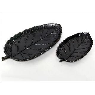 Serving Plates 2 Pcs Rose Leaf Platter Set Black