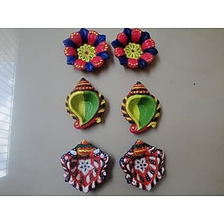 Hand Painted Terracotta Diyas Set Of 6